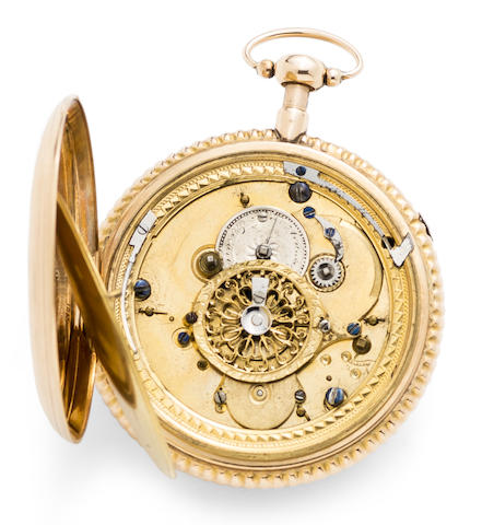 Swiss. An 18K gold quarter repeating automaton open face pocket watch