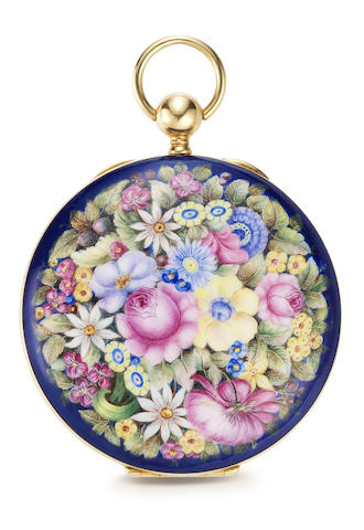 Gontard. A rare and fine gold and polychrome enamel key wind open face pocket watch