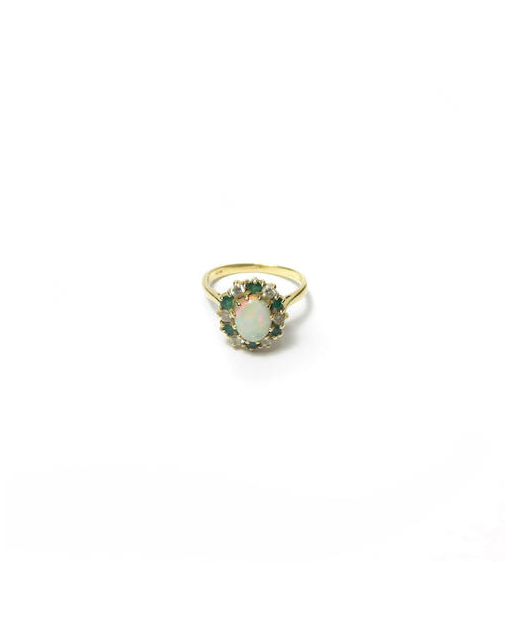 An 18ct gold opal, emerald and diamond ring