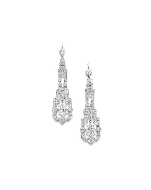 A pair of Art Deco diamond pendent earrings