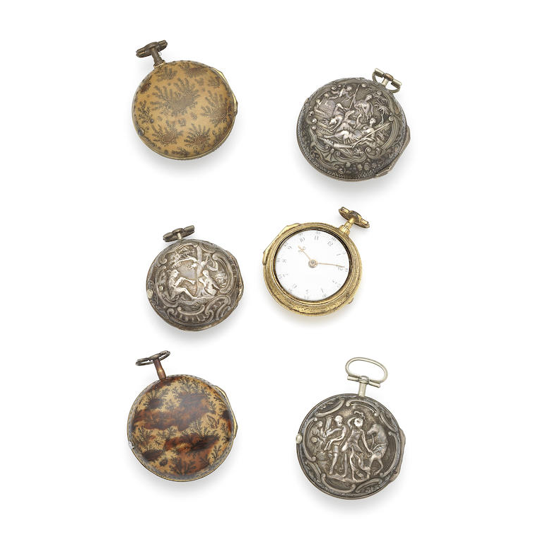 A lot of six key wind pair case pocket watches