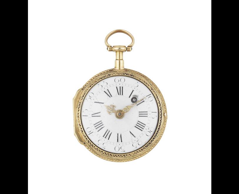Dufalga, Geneve. An 18th century continental gold key wind pocket watch