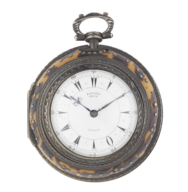 Edward Prior, London. An 18th century silver and tortoiseshell triple cased Turkish market pocket watch