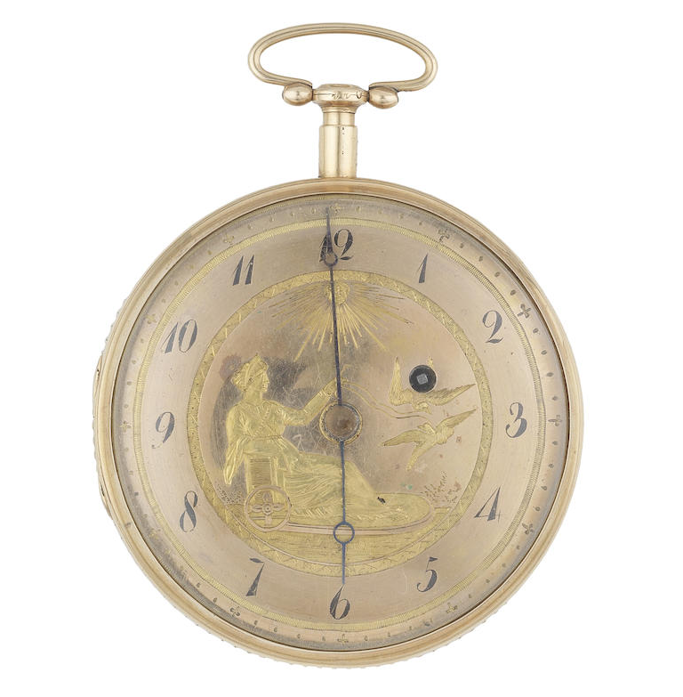 An 18k gold key wind open face repeating pocket watch