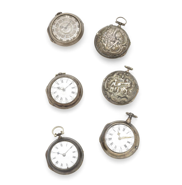 A lot of six silver pair case pocket watches