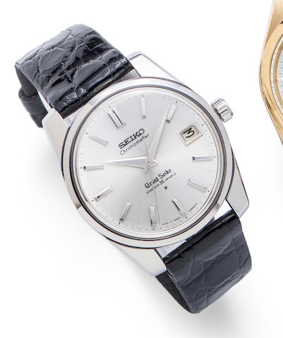 Seiko. A stainless steel manual wind calendar wristwatch