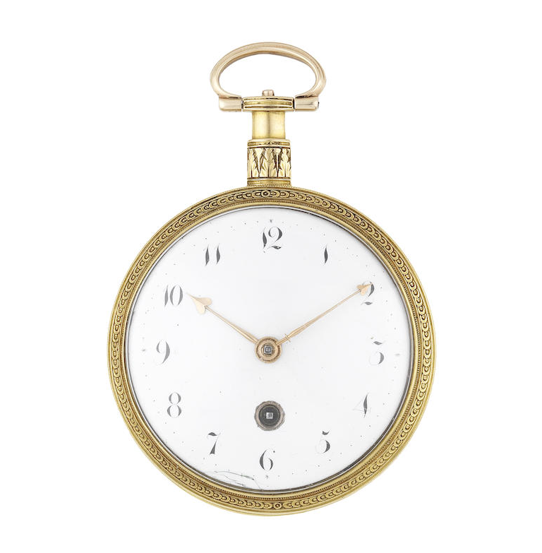 An 18th century continental gold key wind open face pocket watch