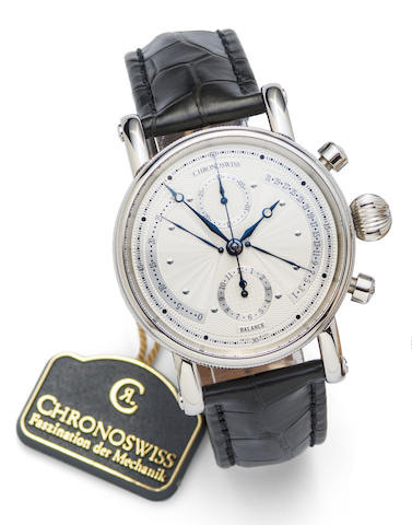 Chronoswiss. A stainless steel automatic retrograde calendar chronograph wristwatch with box and papers