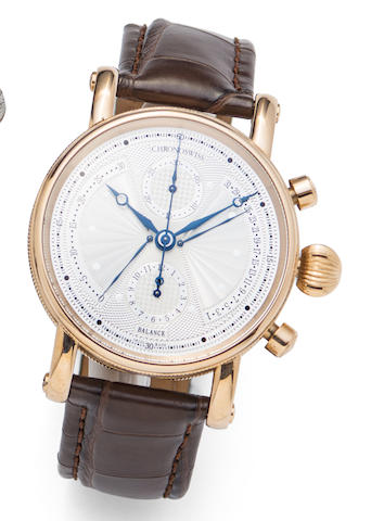Chronoswiss. An 18K rose gold automatic retrograde calendar chronograph wristwatch with box and papers