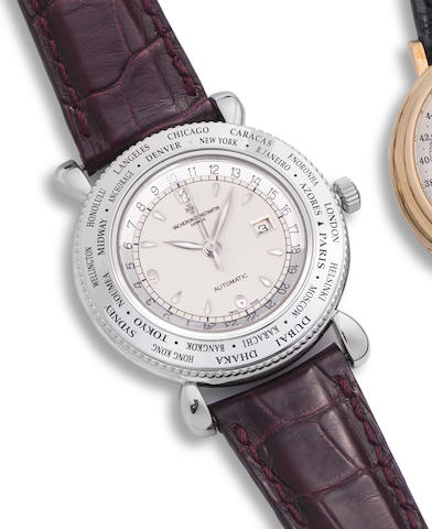 Vacheron Constantin. A limited edition 18K white gold automatic world time calendar wristwatch