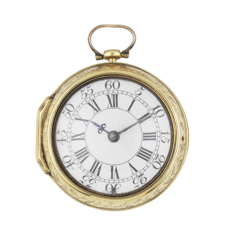 A late 18th century continental gold key wind pair case pocket watch