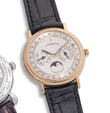Vacheron Constantin. An 18K rose gold automatic annual calendar wristwatch with moon phase