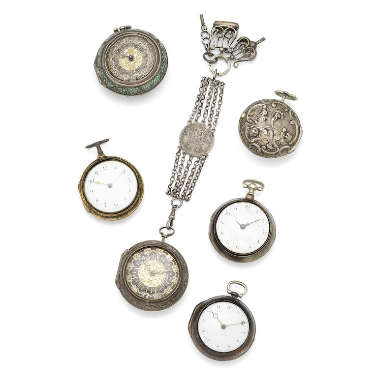 A lot of six pocket watches