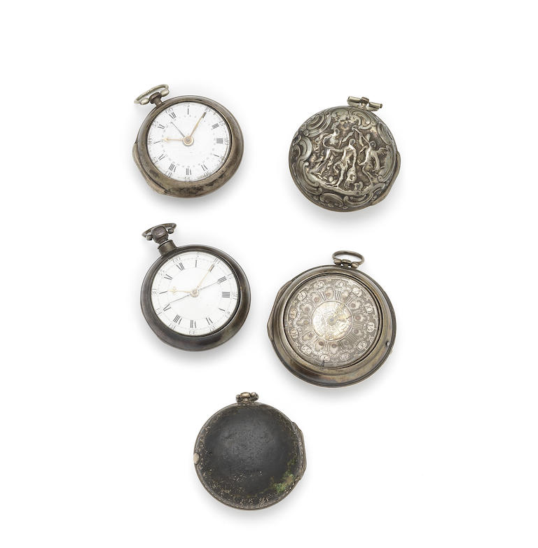 A lot of five silver pair case pocket watches