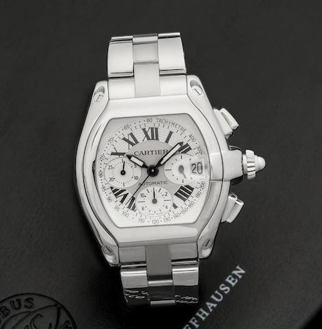 Cartier. A stainless steel automatic calendar chronograph bracelet watch