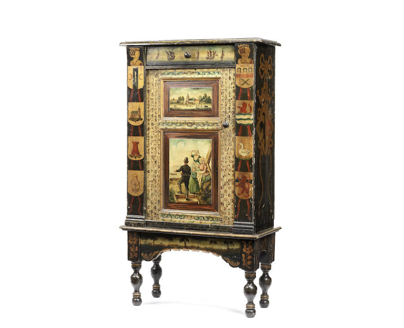 A Dutch 19th century polychrome decorated cabinet on stand