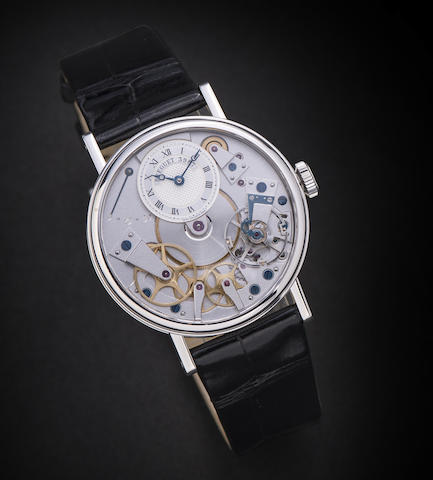 Breguet. An 18K white gold manual wind skeletonised wristwatch with power reserve indication