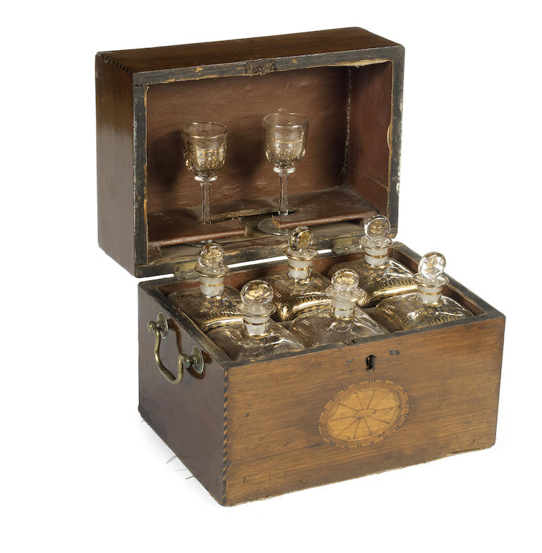 A late 19th century mahogany and marquetry cased decanter set