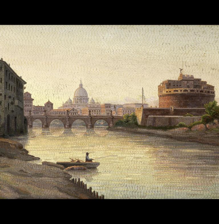 A late 19th century Grand Tour Italian micromosaic panel
