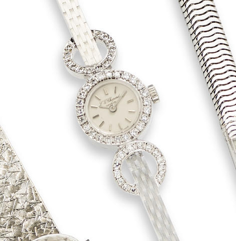 Chopard. An 18K White Gold and Diamond Set Manual Wind Bracelet Watch
