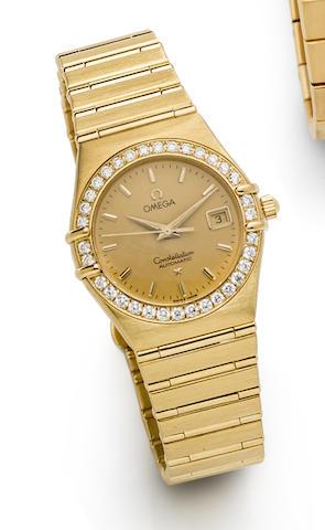 Omega. An 18K Gold and Diamond Set Automatic Calendar Bracelet Watch