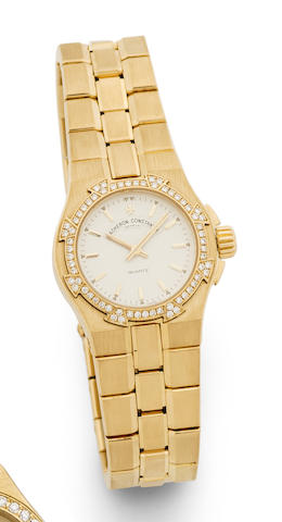 Vacheron Constantin. An 18K Gold and diamond Set Quartz Bracelet Watch