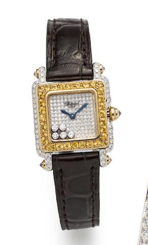 Chopard. A square 18K White Gold and Diamond Set quartz Wristwatch