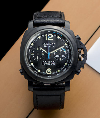 Panerai. A limited edition DLC coated stainless steel automatic split second chronograph wristwatch with box and papers