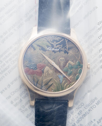 Chopard. An 18K rose gold and japanese lacquer Jungle automatic wristwatch with box and papers in single sealed condition