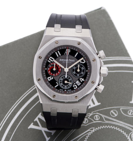 Audemars Piguet. A limited edition stainless steel automatic chronograph calendar wristwatch with box and papers