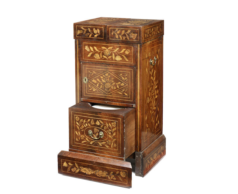 A Dutch early 19th century mahogany and floral marquetry wash stand