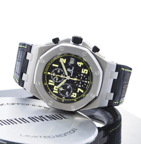 Audemars Piguet. A Limited Edition Stainless Steel Automatic Calendar Chronograph Wristwatch With Box and Papers