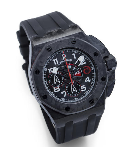 Audemars Piguet. A Limited Edition forced carbon automatic flyback chronograph wristwatch with box and papers