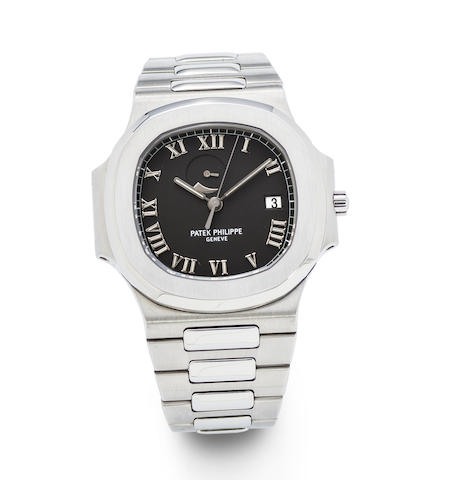 Patek Philippe. A fine and rare stainless steel automatic calendar bracelet watch