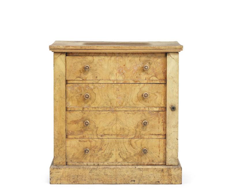 A small Victorian walnut Wellington chest
