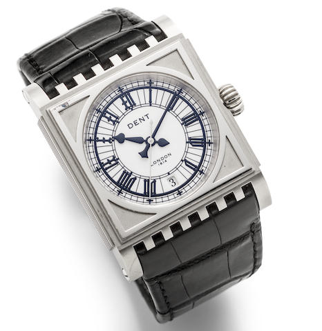 Dent. An 18K white gold automatic calendar wristwatch with box and papers