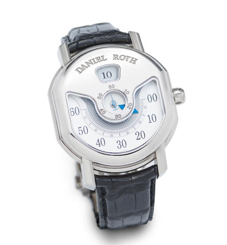 Daniel Roth. A Limited edition 18K white gold automatic jump hour retrograde wristwatch with box and papers