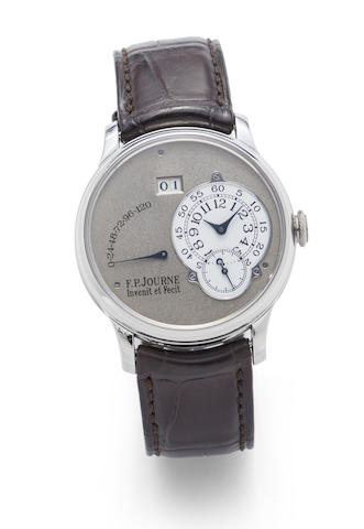 F.P. Journe. A fine and rare platinum automatic calendar wristwatch with power reserve indication with box and papers