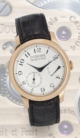 F.P. Journe. A fine and rare 18K rose gold manual wind wristwatch with power reserve indication with papers