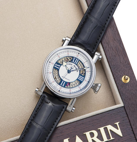 Speake-Marin. An unusual titanium and enamel dial automatic wristwatch with box and papers