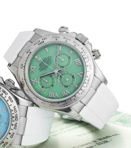 Rolex. An unusual 18K white gold and Chrysoprase Agate dial automatic chronograph wristwatch with box and paper