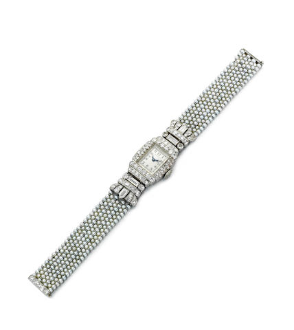A lady's diamond and seed pearl wristwatch, by Van Cleef & Arpels
