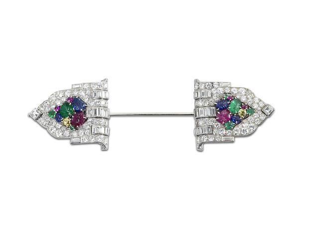 An Art Deco diamond and gem-set jabot pin