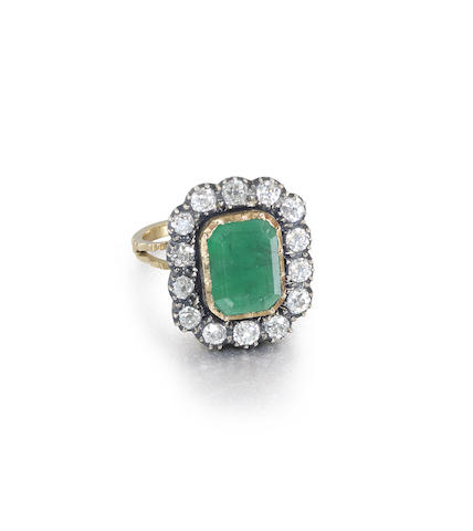 An emerald and diamond necklace, brooch, earring and ring suite
