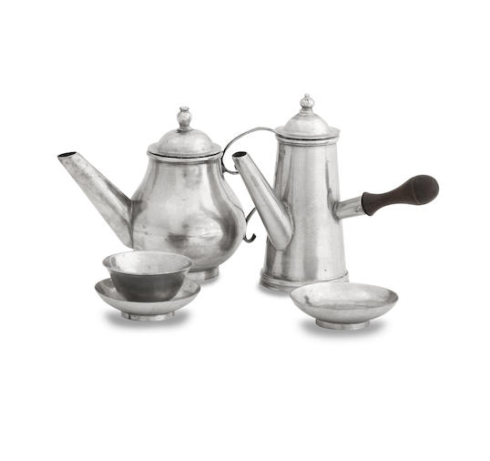 A George I/II miniature silver teapot and coffee pot