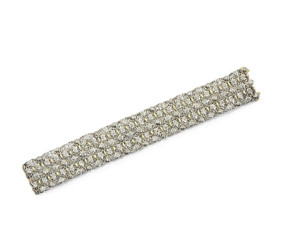 A gold, silver and diamond bracelet
