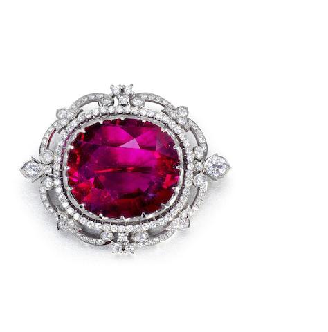 A rubellite tourmaline and diamond brooch