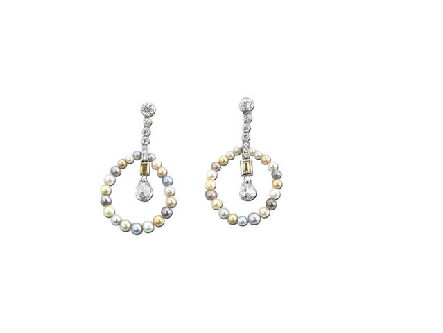 A vari-coloured natural pearl and diamond necklace and pair of earrings