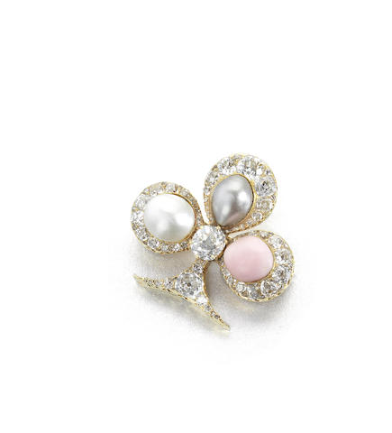 A pearl and diamond trefoil brooch