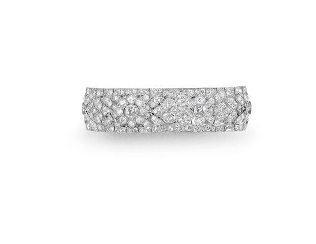 An art deco diamond panel bracelet, French